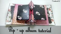 Pop-up Album - How to create pop-up page Mini Scrapbook Albums, Diy Scrapbook, Mini Albums, Scrapbook Pages, Diy Mini Album Tutorial, Diy Tutorial, Origami Templates, Box Templates, Tarjetas Pop Up