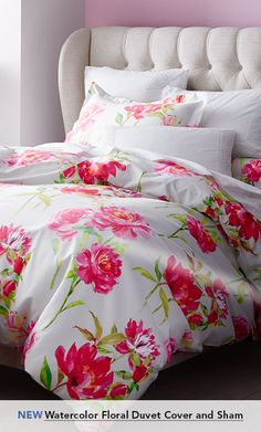 Garnet Hill Duvet Covers. New Watercolor Floral Duvet Cover and Sham.