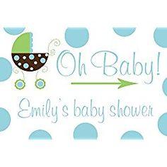 blue polka dot personalized baby shower yard sign boy 12 x 18