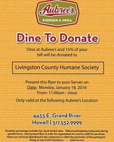 Support The Humane Society Of Livingston County January 18th At Aubreys In  Howell #BelieveinourCommunity #