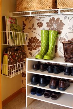 """Closet Organizing Idea. Hang baskets for those """"Misfit"""" items that need a hidden home."""