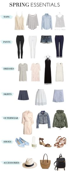 Spring closet - a few great items for a capsule wardrobe or travel wardrobe. ^-^