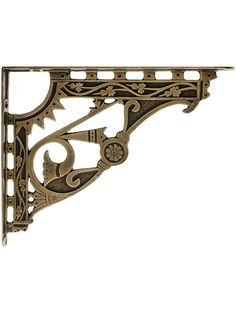 Decorative Bracket. 6 3/4 x 8 1/2 Solid Brass Shelf Bracket in Antique-By-Hand Finish