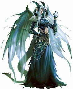 Female Half-Fiend Sorcerer - Pathfinder PFRPG DND D&D d20 fantasy