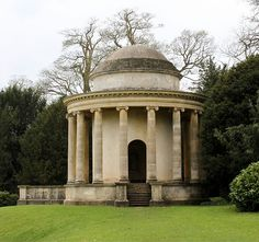 The Temple of Ancient Virtue: Stowe Landscape Gardens    Designed by William Kent in 1734, this monument is a peristyle rotunda, patterned after the Temple of Vesta at Tivoli but using the Ionic order rather than the Corinthian