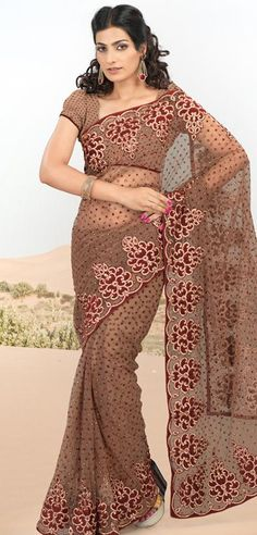 $84.61 Brown Net Saree 20629 With Unstitched Blouse