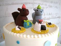 Maybe a Squirrel cake for Sophias Birthday. Squirrel Cake, Squirrel Food, Sweet Cakes, Cute Cakes, Yummy Cakes, Fancy Cakes, Mini Cakes, Cupcake Cakes, Fall Birthday
