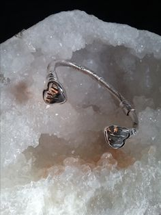 Zino UK Jewellery 'out of the ground' ladies solid silver heart bangle