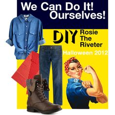 DIY Halloween Costume - Rosie The Riveter by flamingostilettos on Polyvore.  Don't forget classic pin-up style makeup.