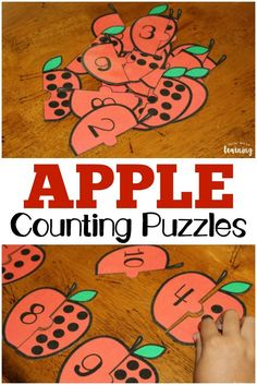 Work on number recognition, counting, and one-to-one correspondence with these fun apple preschool counting puzzles! via @lookwerelearn