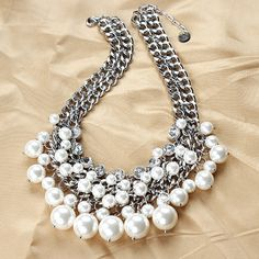 Silver Chain- White Pearl Necklace,Beaded Bib Necklace, Statement Necklace,Wedding Necklace-Jewelry