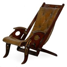 For Sale on - A rare and exceptional selection of British Campaign seating furniture, this gorgeous reclining chair entirely disassembles for safe and convenient transport Ladder Back Chairs, Side Chairs, Campaign Furniture, Antique Chairs, Home Decor Furniture, Deck Furniture, Furniture Design, Leather Cover, Modern Chairs