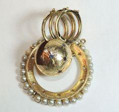Huge 14K Charm 3 Photo Locket, Pendant, Celestial, Globe, Pearls, Sapphires, Stars..