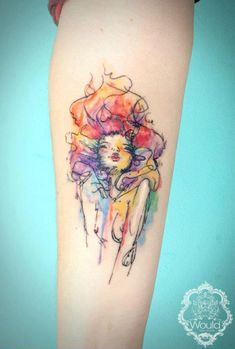 Cool scribbled watercolor tattoo