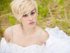 Short blonde wedding hair