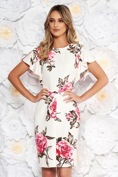 SS19-r1918 White Dress, tented cut, without clothing, floral prints, short sleeves, soft fabric, slightly elastic fabric, zipper fastening