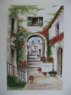 Watercolor: landscape Mallorcinische Gasse - Jutta Bachmann Source by Landscape Drawings, Watercolor Landscape, Watercolour Painting, Landscape Art, Painting & Drawing, African Art Paintings, Easy Paintings, Painting Inspiration, Art Inspo