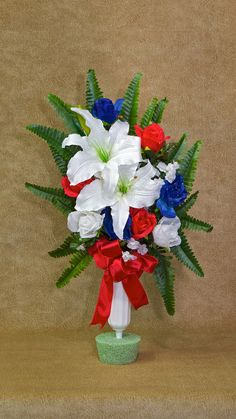 Your place to buy and sell all things handmade Grave Flowers, Cemetery Flowers, Funeral Flowers, Silk Flowers, Funeral Floral Arrangements, Flower Arrangements, Cemetary Decorations, Cemetery Vases, Casket Sprays