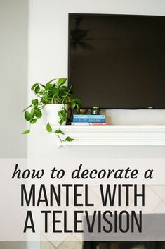 How to decorate a mantel when you have to hang your television above it - tips and tricks for keeping it looking nice Fireplace Design, Fireplace Ideas, Home Decor Inspiration, Decor Ideas, Room Ideas, Interior Styling, Interior Design, Design Interiors, Creative Home