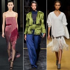 Where we've seen fringed details creeping onto bags and shoes since last season, designers are using it much more heavy-handedly come Fall. The simple technique gives skirts a sexy skin-baring effect, ups the ante on eveningwear, and adds textural intrigue to already-cozy knits.