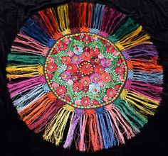 Traditional Rustic Vintage Hungarian Silk Matyo Floral Embroidered Round Tablecloth from the Embroidery Techniques, Embroidery Stitches, Embroidery Patterns, Contemporary Decorative Art, Hungarian Embroidery, Round Tablecloth, Naive Art, Chain Stitch, Flower Art