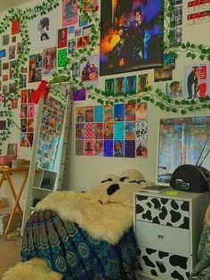 Indie Bedroom, Indie Room Decor, Cute Room Decor, Teen Room Decor, Room Ideas Bedroom, Bedroom Inspo, Hippie Bedrooms, Gothic Bedroom, Boho Decor