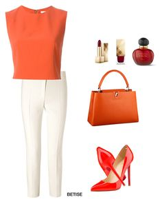 """""""LOVE THIS ORANGE!!"""" by betty-sanga ❤ liked on Polyvore featuring ESCADA, Alice + Olivia, Louis Vuitton, Christian Louboutin, Burberry and Christian Dior"""