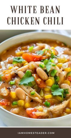 White Bean Chicken Chili Are you looking for a simple and delicious recipe? Try this White Bean Chicken Chili a delicious meal full of spicy chili flavor, chicken, a Chilli Recipes, Top Recipes, Chicken Recipes, Dinner Recipes, Healthy Recipes, Recipe For Chicken Chili, 4 Bean Chili Recipe, Simple Delicious Recipes, Healthy Life