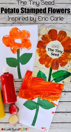 Flower Potato Stamping Craft and The Tiny Seed Free Printables is part of Kids Crafts Spring Eric Carle Today's activities for kids are centered on seeds, flowers, and spring! April Preschool, Preschool Garden, Preschool Art, Preschool Activities, Preschool Flower Theme, Book Activities, Tiny Seed Activities, Spring Preschool Theme, Easy Preschool Crafts