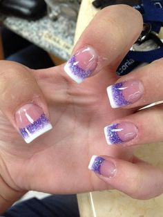 Glitter Purple and White Tips French Nails.