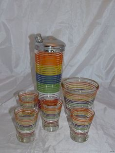 Vintage 1950s Rainbow Stripe Cockail Shaker Ice Bucket Shot Glass Barware 6 Pcs   eBay-Sunny Knoll Antiques and Books