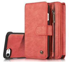 CaseMe 007 iPhone 7 Retro Flannelette Leather Detachable 2 in 1 Wallet Case Red