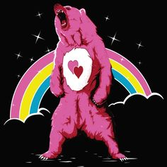 """""""Care For A Real Life Bear?"""" aka """"Bisous Bear"""" by Theduc Real care bear Dark Princess, Funny Bears, Saturday Morning Cartoons, Rainbow Brite, Bear T Shirt, Care Bears, Cartoon Shows, Typography Prints, Tigger"""