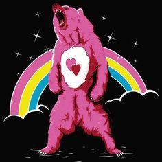 """Care For A Real Life Bear?"" aka ""Bisous Bear"" by Theduc Real care bear Cool Tees, Cool T Shirts, Dark Princess, Funny Bears, Saturday Morning Cartoons, Rainbow Brite, T Shirt Original, Bear T Shirt, Care Bears"