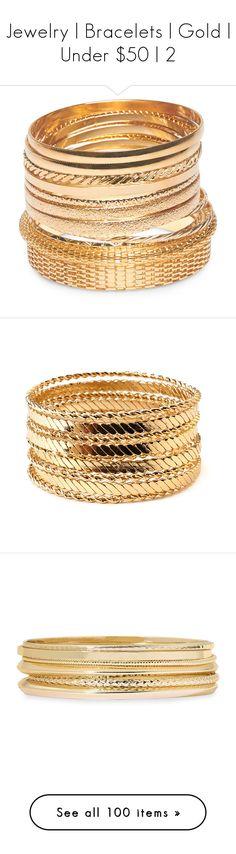 """Jewelry | Bracelets | Gold | Under $50 | 2"" by christinagleason ❤ liked on Polyvore featuring jewelry, bracelets, bracelets bangle, metal mesh jewelry, metal jewellery, wet seal jewelry, metal jewelry, gold, gold bracelet bangle and gold jewelry"