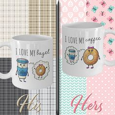 Couple mugs, couple coffee mugs, coffee meets bagel, bagel gift Couples Coffee Mugs, Couple Mugs, Coffee Meets Bagel, Small Love Quotes, Valentine Day Gifts, Valentines, Flirting Quotes, Mugs Set, Ceramic Mugs