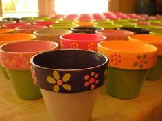 Painted Flower Pots - Customized for your Occasion - Wedding Favors - Parties - Events