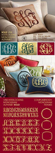 Bold Vine Interlocking Monogram Alphabet SVG eps DXF by ScrapCobra
