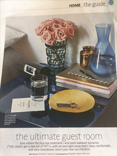 Guest room ideas from Real Simple Magazine, Nov. Real Simple Magazine, Guest Room Decor, Getting Organized, Create Yourself, Perfume Bottles, Room Ideas, Hospitality, House, Guest Bedroom Decor