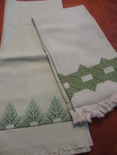Vintage Green Embroidered Tea Towels by MemphisNanney on Etsy, $10.50