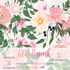 BLUSH PINK Watercolor Flower Clipart  Floral Clipart Hand Painted Rose Peony Floral Bouquet Wedding Invitation DIY Invite Commercial Use by PatishopArt on Etsy https://www.etsy.com/listing/501346284/blush-pink-watercolor-flower-clipart