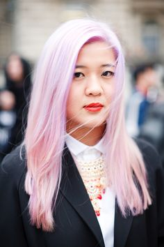 I love this pastel hair with bright lipstick.  Plus, this woman is gorgeous. From Kris Atomic