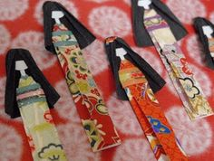 How To Make Japanese Paper Doll Bookmarks!  Hmmmm... A craft idea for Cherry Blossom Festival!!!