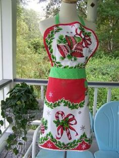 Christmas tablecloth apron
