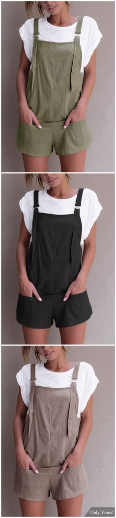 Casual Sleeveless Overalls Romper