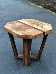 FIgured Maple and Walnut End Table Large Wood Side Table