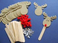 Rudolph Bookmarks - Makes childrens crafts, children's craft supplies Christmas Arts And Crafts, Noel Christmas, Christmas Activities, Christmas Projects, Holiday Crafts, Christmas Gifts, Christmas Decorations, Christmas Ornaments, Reindeer Christmas