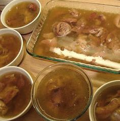 Kocsonya (Hungarian jellied pig's feet) This is one of the more fascinating dishes I remember watching my Hungarian born grandmother make when I was little. When the plates of finished pig's feet w… Hungarian Cuisine, Hungarian Recipes, Hungarian Food, Serbian Food, Polish Recipes, My Recipes, Cooking Recipes, Polish Food, Cheese Recipes