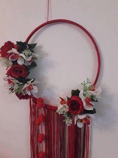 valentine gift, dream catcher, floral dream catcher, wall decoration, home decor, boho dream catcher, valentine gift, red dream catcher,