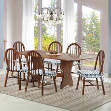 Sala de Jantar Madeira Maciça Hannover com 1 Mesa e 6 Cadeiras Castanho 160 Tecido 48